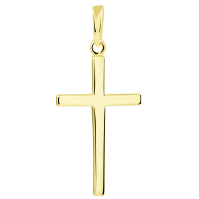 14K Solid Yellow Gold Classic Plain Religious Cross Pendant