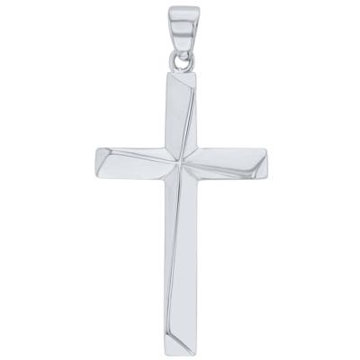 Solid 14K White Gold Elegant Religious Plain Cross Pendant