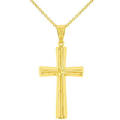 Polished 14K Yellow Gold Plain Religious Cross Pendant Necklace