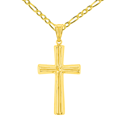 Polished 14K Yellow Gold Plain Religious Cross Pendant with Figaro Chain Necklace