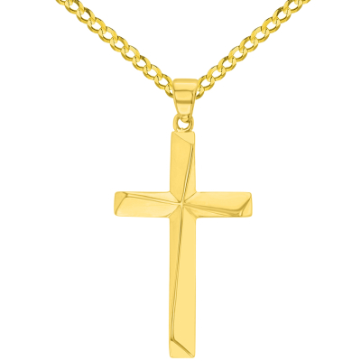 Solid 14K Yellow Gold Elegant Religious Plain Cross Pendant with Cuban Chain Necklace