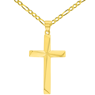 Solid 14K Yellow Gold Elegant Religious Plain Cross Pendant with Figaro Chain Necklace