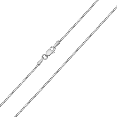 Solid 14k White Gold Diamond-Cut 1.2mm Square Franco Chain Necklace with Lobster Claw Clasp