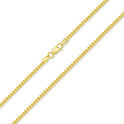 14k Yellow Gold Hollow 2mm Square Franco Chain Necklace with Lobster Claw Clasp (Diamond-Cut)