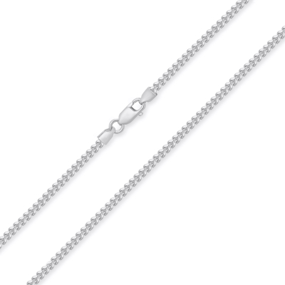 14k White Gold Hollow 2mm Square Franco Chain Necklace with Lobster Claw Clasp (Diamond-Cut)