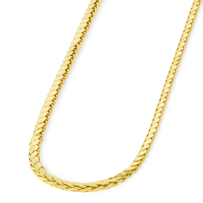14k Yellow Gold 3mm Hollow Square Braided D/C Wheat Chain Necklace with Lobster Claw Clasp (Diamond-Cut)