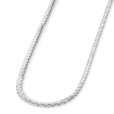 14k White Gold 3mm Hollow Square Braided D/C Wheat Chain Necklace with Lobster Claw Clasp (Diamond-Cut)