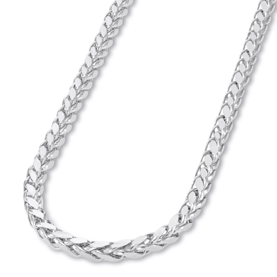 14k White Gold 3.5mm Hollow Square Braided D/C Wheat Chain Necklace with Lobster Claw Clasp (Diamond-Cut)