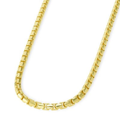 Solid 14k Yellow Gold 2.8mm Round Box Link Chain Necklace with Lobster Claw Clasp (High Polish)