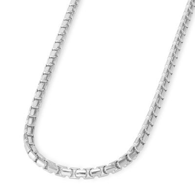 Solid 14k White Gold 2.8mm Round Box Link Chain Necklace with Lobster Claw Clasp (High Polish)