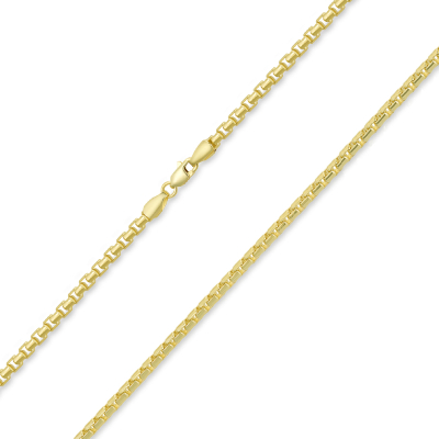 Solid 14k Yellow Gold 2mm Round Box Link Chain Necklace with Lobster Claw Clasp (High Polish)