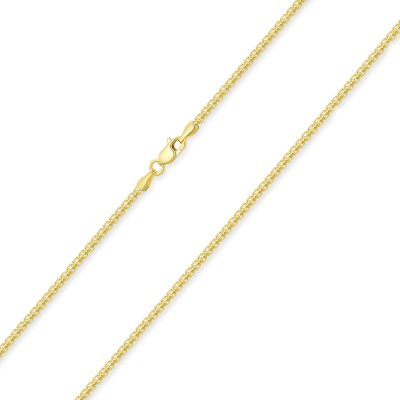 Solid 14k Yellow Gold 1.5mm Round Box Link Chain Necklace with Lobster Claw Clasp (High Polish)
