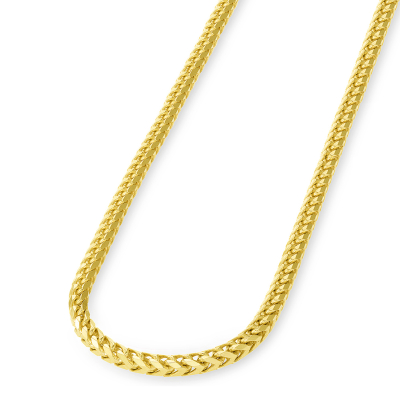 Solid 14k Yellow Gold 3mm D/C Franco Chain Necklace with Lobster Claw Clasp (Diamond-Cut)