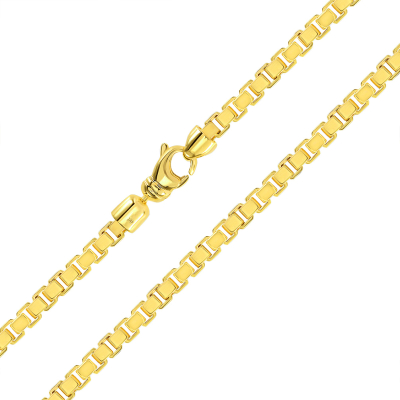 Solid 14k Yellow Gold 4mm Square Box Link Chain Necklace with Lobster Claw Clasp (High polish)