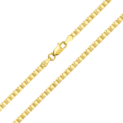 Solid 14k Yellow Gold 2.6mm Square Box Link Chain Necklace with Lobster Claw Clasp (High Polish)