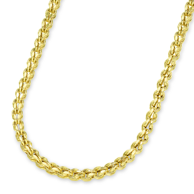 14k Yellow Gold 4.5mm Interlink Huggie Fancy Hollow Franco Link Chain Necklace with Lobster Claw Clasp (Diamond-Cut)
