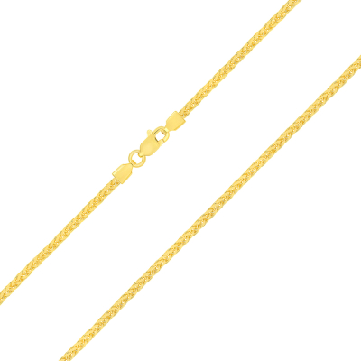 14k Yellow Gold 1.8mm Square Braided Classic Wheat Chain Necklace with Lobster Claw Clasp (Diamond-Cut)
