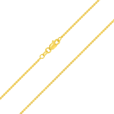 Solid 14k Yellow Gold Thin 1mm Round Box Link Chain Necklace with Lobster Claw Clasp (High-Polish)