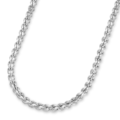 14k White Gold 4.5mm Interlink Hollow Huggie Fancy Franco Link Chain Necklace with Lobster Claw Clasp ( Diamond-Cut)