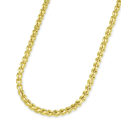 14k Yellow Gold 3.5mm Interlink Hollow Huggie Fancy Franco Link Chain Necklace with Lobster Claw Clasp