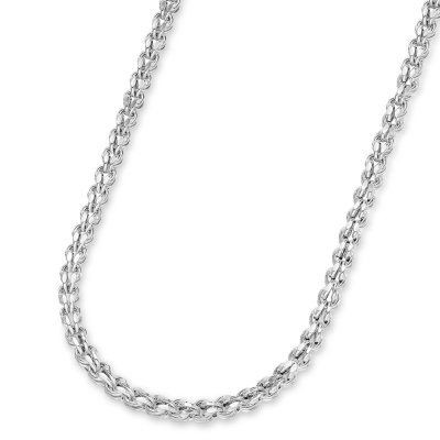 14k White Gold 3.5mm Interlink Hollow Huggie Fancy Franco Link Chain Necklace with Lobster Claw Clasp (Diamond-Cut)