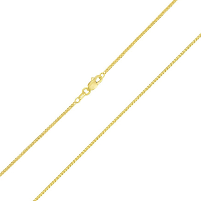 14k Yellow Gold Classic 1mm Square Wheat Braided Chain Necklace with Lobster Claw Clasp (Diamond-Cut)
