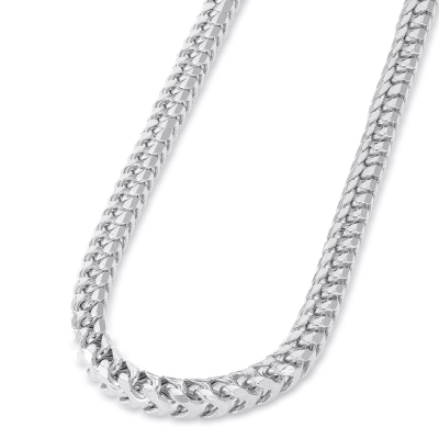 Solid 14k White Gold 4.5mm D/C Franco Chain Necklace with Lobster Claw Clasp (Diamond-Cut)