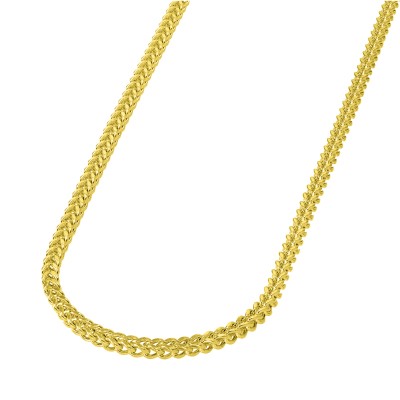 14k Yellow Gold 4mm Hollow Square D/C Franco Chain Necklace with Lobster Claw Clasp (Diamond-Cut)