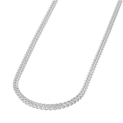 14k White Gold 4mm Hollow Square D/C Franco Chain Necklace with Lobster Claw Clasp (Diamond-Cut)