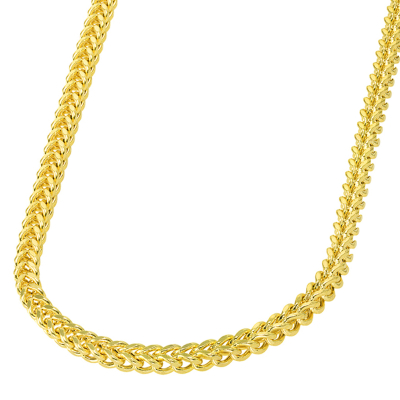 14k Yellow Gold 4.8mm Hollow Square D/C Franco Chain Necklace with Lobster Claw Clasp (Diamond-Cut)