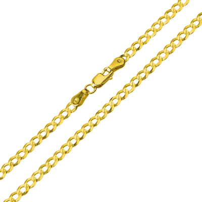 Solid 14K Yellow Gold 2.5mm Concave Cuban Link Curb Chain Necklace with Lobster Claw Clasp (Diamond-Cut)