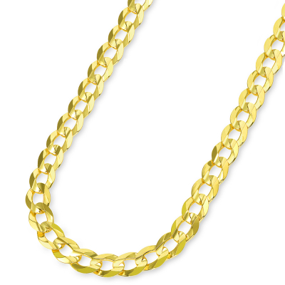Solid 14k Yellow Gold 8mm Open Cuban Concave Curb Chain Necklace with Lobster Clasp