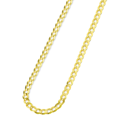 Solid 14k Yellow Gold 5mm Open Cuban Concave Curb Chain Necklace with Lobster Clasp