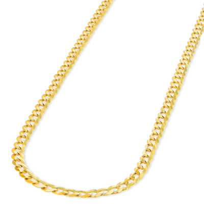 Solid 14K Yellow Gold 3mm Concave Cuban Link Curb Chain Necklace with Lobster Clasp