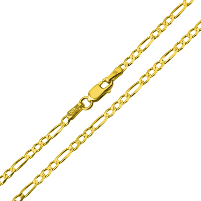 Solid 14k Yellow Gold 2mm Figaro Link Chain Necklace with Lobster Clasp
