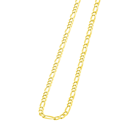 Solid 14k Yellow Gold 3mm Figaro Link Chain Necklace with Lobster Clasp