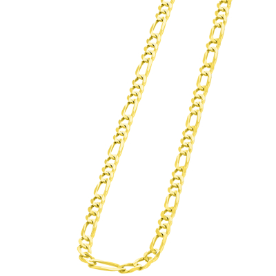 Solid 14k Yellow Gold 4mm Figaro Link Chain Necklace with Lobster Clasp