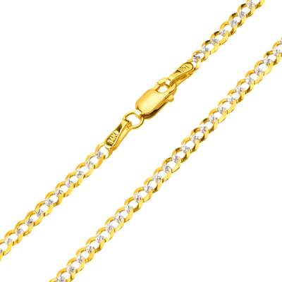 Solid 14K Yellow Gold 2.5mm Two Tone Pave Cuban Concave Link Chain Necklace with Lobster Claw Clasp