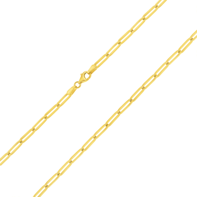 Solid 14k Yellow Gold Polished 3mm Paperclip Chain Link Necklace with Lobster Clasp (High-Polished)