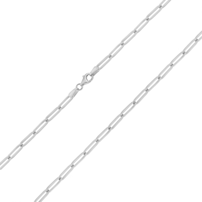 Solid 14k White Gold Polished 3mm Paperclip Chain Link Necklace with Lobster Clasp