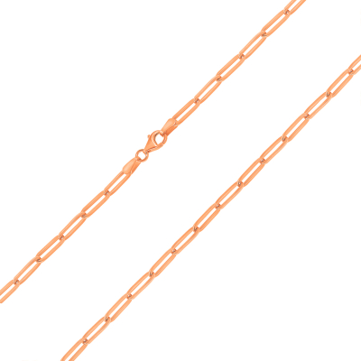 Solid 14k Rose Gold Polished 3mm Paperclip Chain Link Necklace with Lobster Clasp (High-Polish)