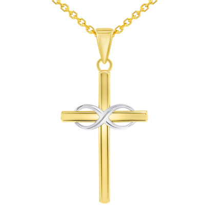 14k Two-Tone Gold Religious Plain Cross and Infinity Eternity Symbol Pendant Rolo Cable Necklace