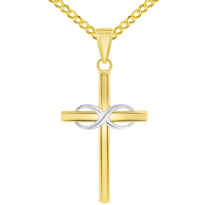 14k Two-Tone Gold Religious Plain Cross and Infinity Eternity Symbol Pendant Cuban Curb Chain Necklace