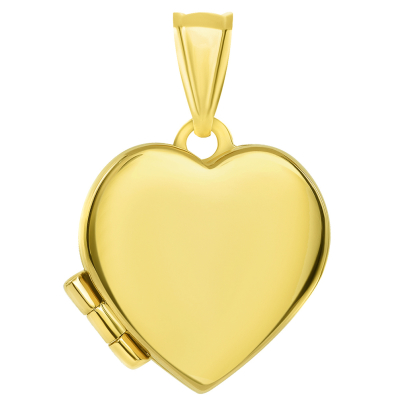 14k Yellow Gold Plain and Simple Heart Love Locket Pendant (15mm x 15mm)