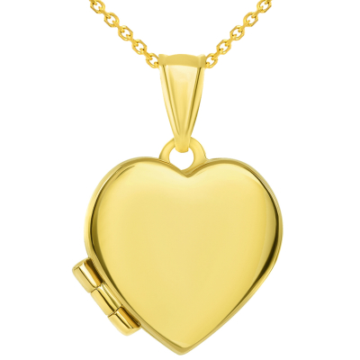 14k Yellow Gold Plain and Simple Heart Love Locket Pendant with Cable Chain Necklace
