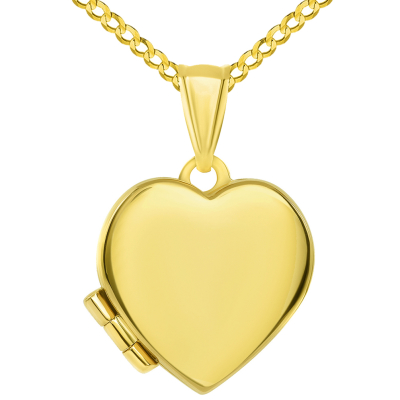 14k Yellow Gold Plain and Simple Heart Love Locket Pendant with Curb Chain Necklace