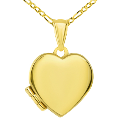 14k Yellow Gold Plain and Simple Heart Love Locket Pendant with Figaro Chain Necklace