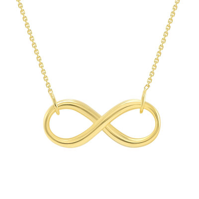 "Solid 14k Yellow Gold 2.5mm Thick Infinity Love Eternity Necklace with Lobster Claw Clasp (16"" to 18"" Adjustable Chain)"