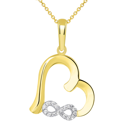 14k Yellow Gold Open Heart CZ Infinity Love Symbol Pendant Necklace