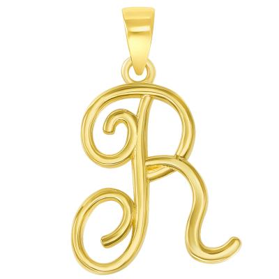14k Yellow Gold Elegant Script Letter R Cursive Initial Pendant